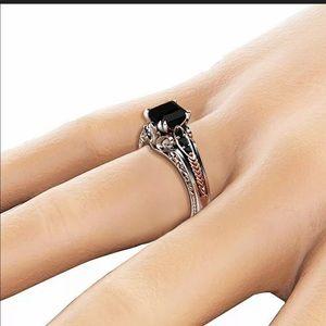 New 925 Silver Black Sapphire women's Ring